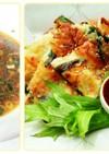 本格的❕海鮮チヂミと油淋鶏ソースでタレ