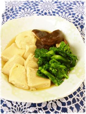菜の花としいたけ・冷凍豆腐のあっさり煮
