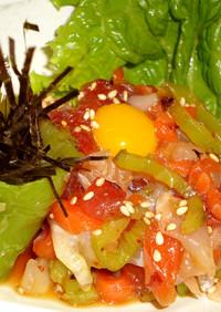 万願寺唐辛子の海鮮ユッケ