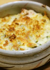 鍋1つ☆水菜と鶏胸肉のマカロニグラタン
