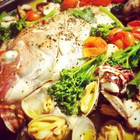 鯛と菜の花の簡単アクアパッツァ