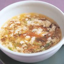 せん切り野菜と干ししいたけの卵スープ