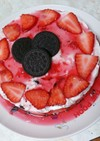 いちごとオレオのレアチーズケーキ♡♡