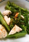 簡単 菜の花と レンジで蒸し鶏の 和え物