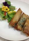 塩鶏、カット野菜を使ってカンタン春巻き