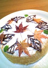 落ち葉舞う、柿のベイクドチーズケーキ