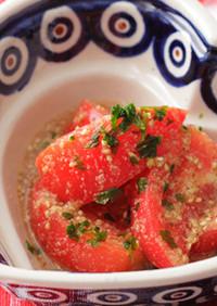 さっぱり☆べんりで酢deトマトのごま浸し