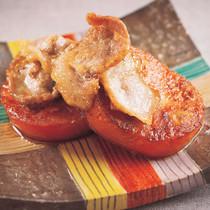 トマトと豚肉の麺つゆ炒め
