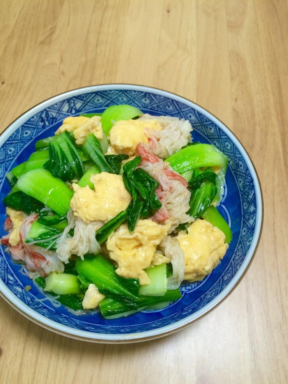 カニカマ、チンゲン菜と卵の中華炒め☆