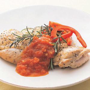 鶏もも肉のグリルトマトソース