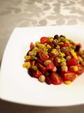 トマトと豆のカラフルサラダ☆メープル風味
