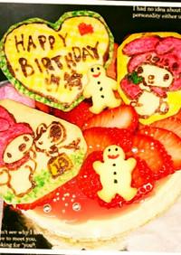 苺としっとりチーズケーキ誕生日ケーキ