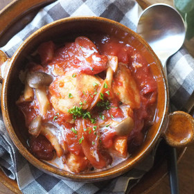 鶏胸肉で♡チキンの濃厚トマト煮込み