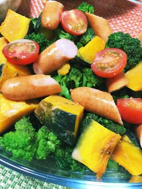 温野菜とソーセージの彩りサラダ、お弁当◎