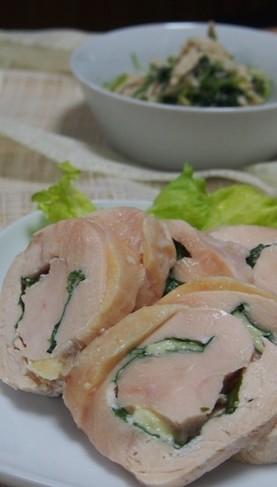 お助け食材鶏胸肉で、紫蘇チーズロール