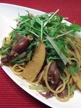 ホタルイカと筍・水菜の和風ペペロンチーノ