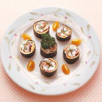 生ハムと卵焼きの豆腐のり巻き