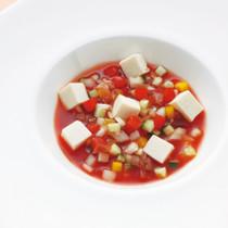 トマトジュースの冷製豆腐ミネストローネ