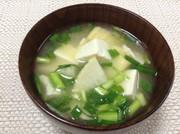 たけのこの穂先と豆腐の味噌汁の写真