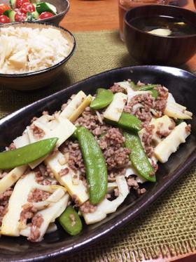 竹の子と豚挽肉のシンプルにんにく塩炒め