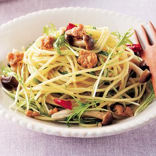 水菜の和風ペペロンチーノ