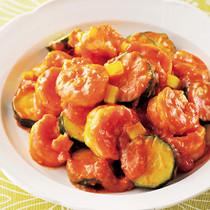 えびとズッキーニのチリトマト炒め