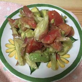 ミョウガとアボカドとトマトのサラダ