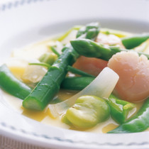 春野菜とほたて貝のオレンジ風味
