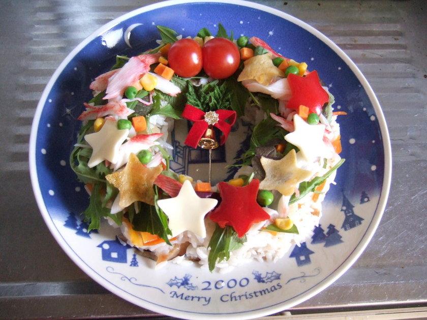 クリスマスリース寿司サラダ