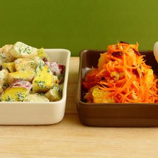 3種のおいもサラダグリーンマヨソース(写真左)
