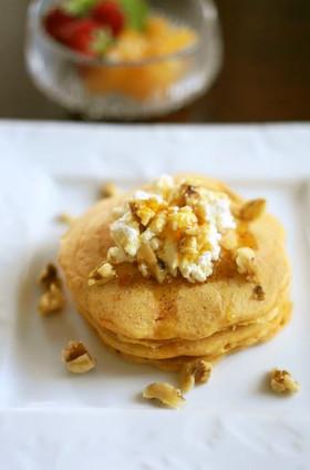卵なし☆米粉と全粒粉のにんじんパンケーキ