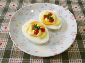 お弁当や朝食に♪ゆで卵のマヨケチャ焼き