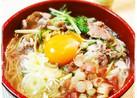 豚と水菜で簡単♬キレイなお月見にゅう麺