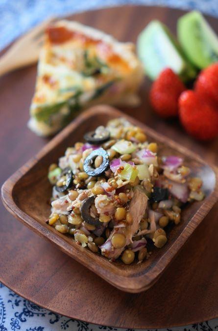 レンズ豆とツナ、オリーブのマリネ