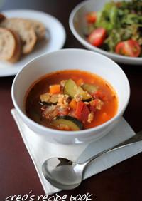 ズッキーニと挽き肉のトマトスープ