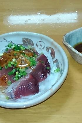 カツオ刺身と新たまねぎ☆ガーリック醤油味