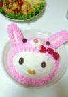 うさぎキティのバースデーケーキ
