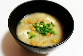 栄養満点!切干大根と納豆の味噌汁