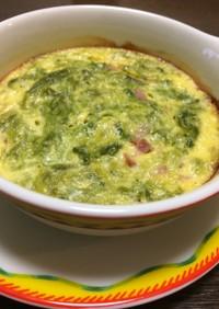 ヘルシーおかず:卵入りあおさのオーブン焼