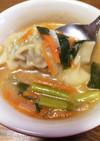 冷凍餃子で坦々風スープ