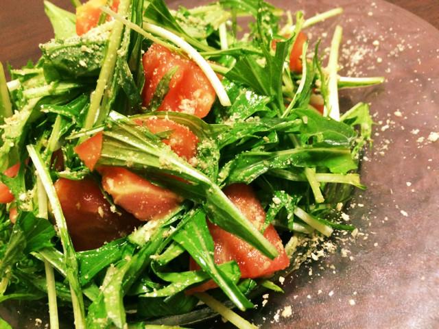 トマトと水菜のシャキシャキサラダ