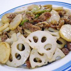 レンコン、山芋と豚肉の炒め