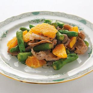 オレンジと豚肉の炒めもの