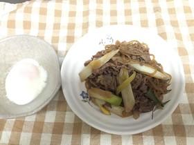牛肉とネギと白滝の簡単炒め煮!すき焼き風