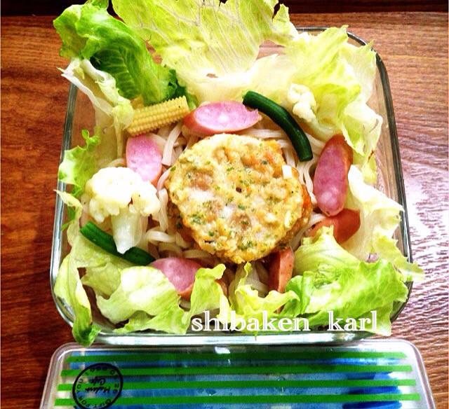 細胞ぽい⁈簡単サラダうどん稲庭冷凍うどん