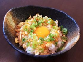 ピリ辛☆たぬき卵かけご飯