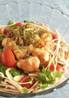 鶏肉と野菜の南蛮漬けそば♪簡単&栄養♪