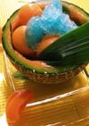 暑い日に☆くり抜きメロンとカキ氷