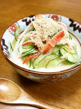 胡瓜とカニカマの甘くて冷たいスープご飯