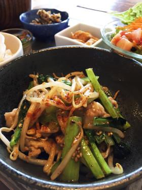 小松菜と豚バラのオイマヨ炒め